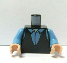 Lego 1 Flesh  Minifigure Body Torso Black Vest Waistcoat Blue Shirt Chandler