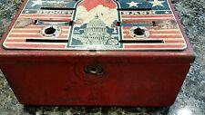 VIntage MARX TOYS TIN METAL BUDGET BANK Capital Building Stars & Stripes USA