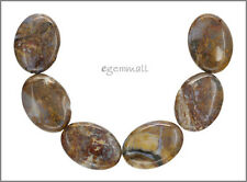 6 Red Brown Pietersite Flat Oval Beads 18x25mm #77056