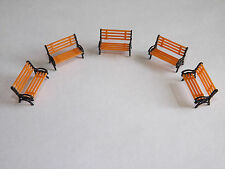 5 Model Platform Park Bench seats N Gauge train rail layout or/bl suit hornby