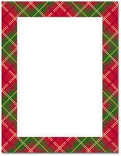 Country Plaid Red Green Christmas Holiday Letterhead Paper 100/pk