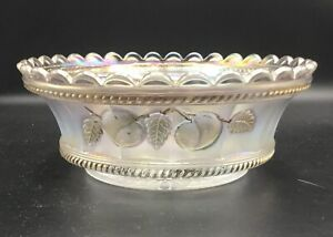 "CARNIVAL BEAUTIFUL SIGNED NORTHWOOD WHITE PEACH MASTER BERRY BOWL ""GOLD PAINT"""