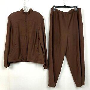 Vtg Orvis Womens Track Suit Set Outfit Brown Crinkle Rayon Coat Pant Petite XLP