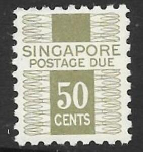 SINGAPORE SGD8 1968 50c DRAB POSTAGE DUE MNH