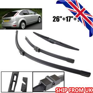 For Ford Focus MK2 Hatchback 2004-2011 UK Front Rear Windscreen Wiper Blades Set