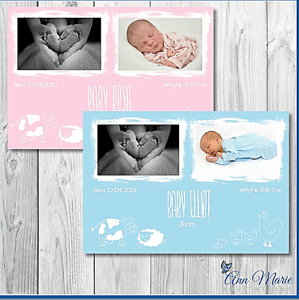 10 x PERSONALISED NEW BABY BIRTH ANNOUNCEMENT ARRIVAL CARD THANK YOU GIRL BOY