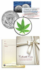 MARIJUANA POT LEAF Collectible JFK Kennedy Half Dollar U.S. Colorized Coin GIFT