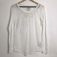Abercrombie & Fitch Size L White Long Sleeved Crochet Detail Henley Top