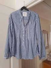 Fab H&M Blue & White Checked Top, Long Sleeves, 100% Cotton, Size 8, VGC