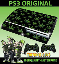 Playstation ps3 original noir feuille de cannabis weed Mary Jane peau & 2 pad skins