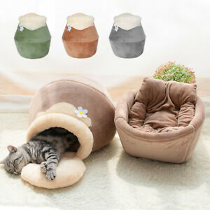 3 in 1 Warm Cat Beds for Indoor Cats Cave Igloo Sofa with Removable Cushion Mat