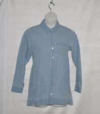 Joan Rivers Button Front Denim Shirt with Long Sleeves Size S Chambray