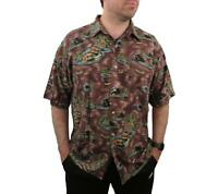 Vintage M.E. Sport Men's VOLCANO Hawaiian Rayon Shirt 2XL Palm Trees Aloha Tiki