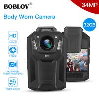 BOBLOV HD 1296P Body Worn Camera 32GB DVR Police Video Security IR Night Vision