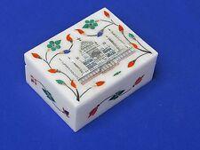 Marble Jewelry Box Inlay Pietra Dura Art Stone White Handmade For Xmas Gift