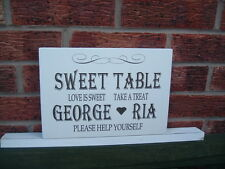Shabby vintage chic Sweet Table Personalised wedding table sign free standing