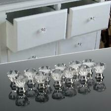 12pcs Clear Acrylic 30mm Diamond Shape Knob Cupboard Drawer Pull Handle Knobs Br