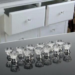 12pcs Clear Acrylic 30mm Diamond Shape Knob Cupboard Drawer Pull Handle Knobs Br