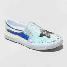 Cat & Jack Girls' Madalena Silver Star Flip Sequin Twin Gore Sneakers Size 5 Nwt