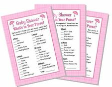 24 Baby Shower Games Girl Pink What's in Your Purse Game Cards Party
