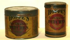 2 Antique Hoppe's Gun Cleaning Patches Paper Label Round Tin Cans