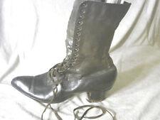 Vintage Edwardian Boot Black Shoe Gc 7 Soft Leather Laceup 2-tone