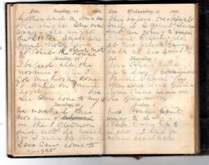 1866 Handwritten Diary 22yr Old Newlywed Ella Haynes Snow Dies 1868 Chicopee MA