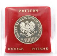 .1987 POLAND POLISH SILVER PATTERN 1000ZL COIN.