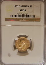 1900 O3 RUSSIA 5 ROUBLE GOLD NGC AU53