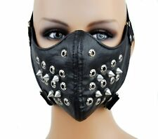 Black PU Leather Rivet Steampunk Sports Cosplay Motorcycle Biker Half Face Mask