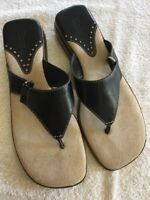 Bass Women's Black Leather Slip On Thong Sandals Sundown Shoes Size Sz 6 M