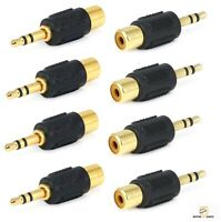 "8x RCA Female Jack to 3.5mm 1/8"" Stereo Male Plug Audio Adapter Gold Plated F/M"
