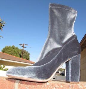 Sam Edelmen Velvet boots Size 8.5, 9 blue gray shoes bootie calf Fall Winter New