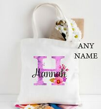 Personalised name initial purple flower tote bag Any Name added ladies gift