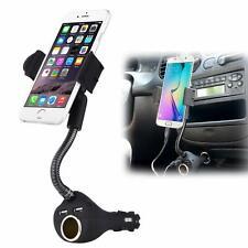 CAR MOUNT CHARGER DC SOCKET PLUG-IN HOLDER 2-PORT USB DOCK CRADLE for SMARTPHONE