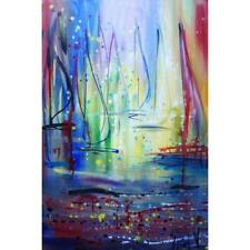 Sailboats Morning on the Lake Original Oil Painting Boats Large Canvas Seascape