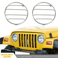 Chrome Headlight Cover Guard Lights Protector For Jeep Wrangler TJ 1997-2006 NEW