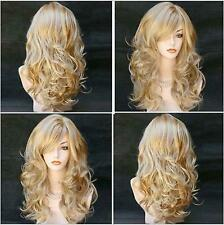 Bangs Women Blonde Synthetic Curly Hair Wig Cosplay Halloween Party Roll Play