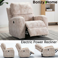 Oversize Electric Power Recliner Chair Air Leather Overstuffed Heavy Duty Sofa