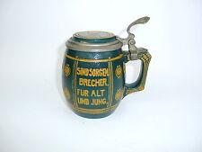 Seltener Jugendstil Bierkrug um 1900 Krug mit Spruch