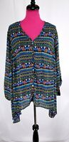 NWT New Direction Tunic Top Size 2X Womens Multicolor Tribal Asymmetrical Shirt