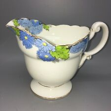 Rare Vintage Antique Paragon China Porcelain Blue Chrysanthemum Milk Jug