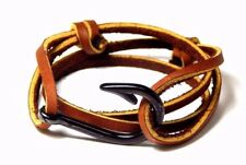 Leather Nautical Fish Hook Bracelet  Vintage Adjustable Men Women Hand Made USA