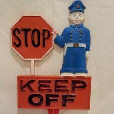 "Stop Keep Off Police Garden Stake 1977 Art Line Lawn Yard Decor Plastic 8"" 6336"