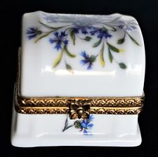 Vintage Ancienne Royale Limoges Hinged Trinket Box ~ Cornflower Design