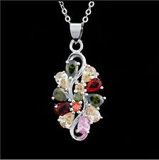 Shine Multi-color Zircon Gemstone Pendant 925 Sterling Silver Chain Necklace P17