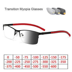 Square Photochromic Myopia Glasses For Distance Transition Optical Blue Eyewear