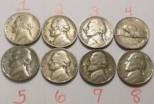 Lot of 8 Wartime Nickel Lamination Errors 1943-1945 Jefferson 35% Silver