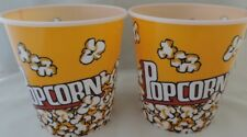 NEW  set of 2 Popcorn Holders/Bowl Plastic Containers Reusable Tub Buckets