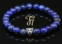 Lapislazuli blau - silberfarbener Leopardenkopf - Armband Perlenarmband 8mm